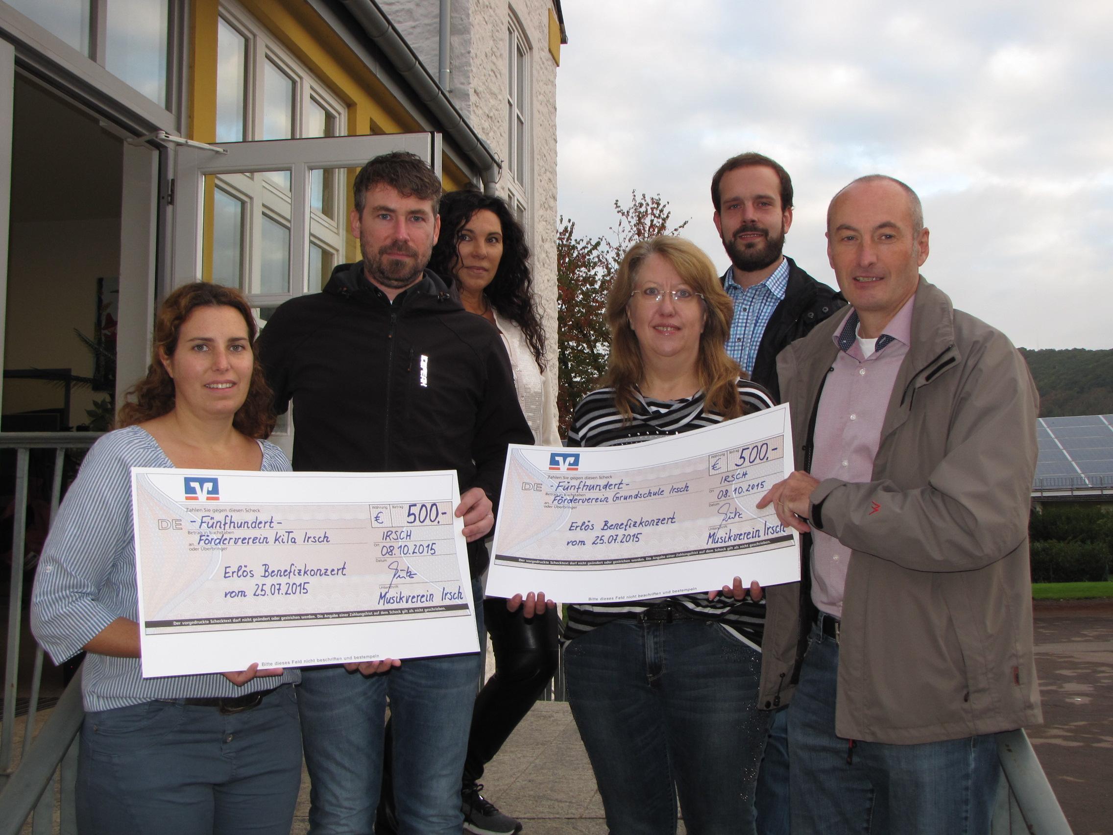 Musikverein Irsch spendet 1.000 EUR für Grundschule und KiTa Irsch